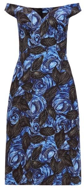 Prada Off-the-shoulder Floral-print Twill Dress - Womens - Blue Multi