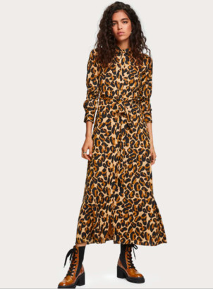 Scotch & Soda Leopard Print Belted Maxi Dress - polyester | brown | Black / Brown | small 8 - Brown/Brown