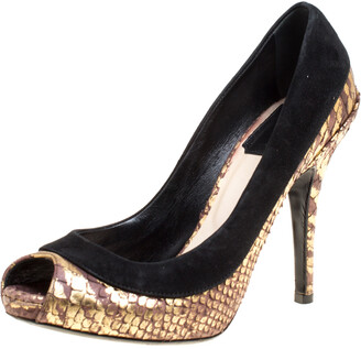 Christian Louboutin Dior Black/Gold Suede and Python Embossed Leather Peep Toe Pumps Size 35.5