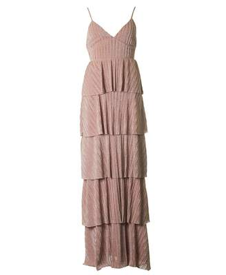 Forever Unique Collection Metallic Tiered Ruffle Maxi Dress Colour: PI