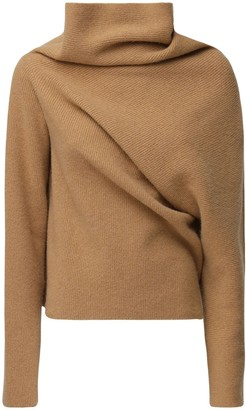 colville Rib Knit Draped Turtleneck Wool Sweater