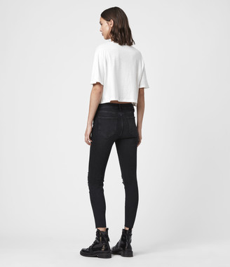 AllSaints Grace Cropped Ankle Fray Mid-Rise Skinny Jeans, Washed Black