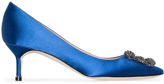 Manolo Blahnik blue Hangisi 50 satin pumps