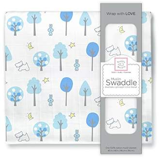 Swaddle Designs X-Large Cotton Muslin Swaddle Blanket, Blue Forest