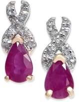 Macy's Ruby (1 ct. t.w.) & Diamond (1/8 ct. t.w.) Drop Earrings in 14k Gold