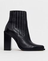 Asos Design DESIGN East Coast premium leather western chelsea boots in black