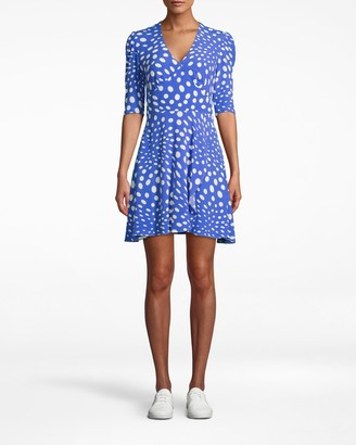 Nicole Miller Pebble Crepe V-neck Mini Wrap Dress