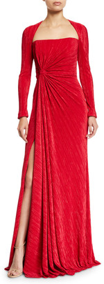 Badgley Mischka Fortuni Knotted Long-Sleeve Drape Dress