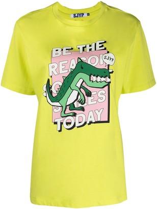 Sjyp Dinosaur-Print Cotton T-Shirt