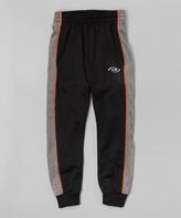 CB Sports Black & Orange Piping Track Pants - Tween