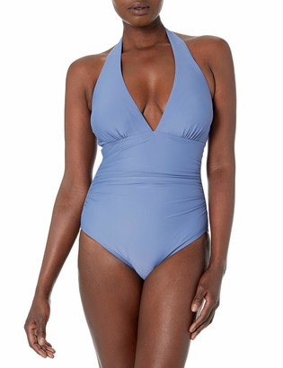 Tommy Hilfiger Women's Halter One Piece Swimsuit with Shirred Waist
