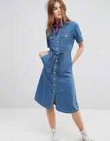 Leon and Harper Midi Shirt Dress in Denim