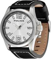 Police Men's PL.12591JS/04 Black Leather Analog Quartz Watch with Dial