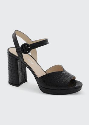 Prada 95mm Mock-Croc Strap Sandals