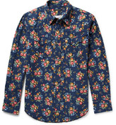 Engineered Garments Floral-print Cotton-flannel Western Shirt - Navy