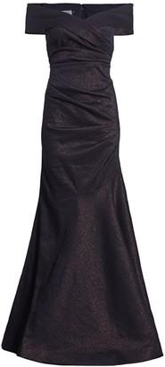 Teri Jon by Rickie Freeman Stretch Metallic Off-the-Shoulder Gown