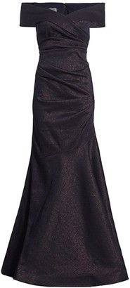 Teri Jon By Rickie Freeman Stretch Metallic Off-the-Shoulder Gown
