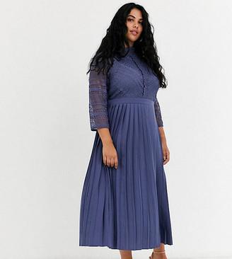 Little Mistress Plus lace detail midaxi dress in lavender grey