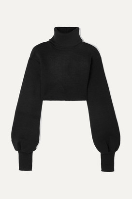 Orseund Iris Cropped Ribbed-knit Turtleneck Sweater - Black