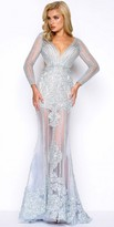 Mac Duggal Long Sleeve Illusion Lace Applique Evening Dress