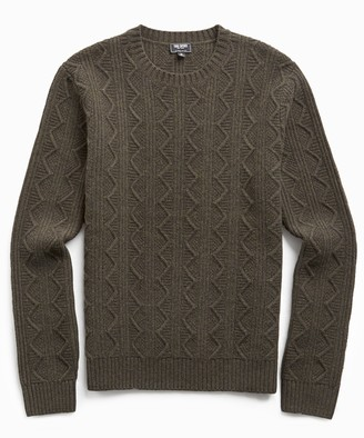 Todd Snyder Merino Cable Crew in Olive
