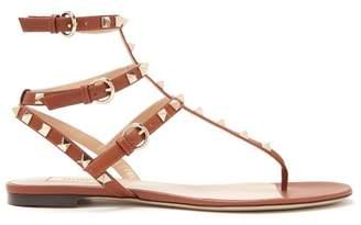 Valentino Rockstud Leather Sandals - Womens - Dark Tan