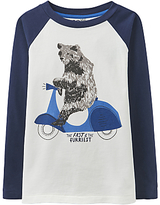 Joules Little Joule Boys' Finlay Bear Scooter T-Shirt, Blue