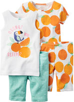Carter's 4-pc. Orange You Sleepy Pajama Set - Toddler Girls 2t-5t