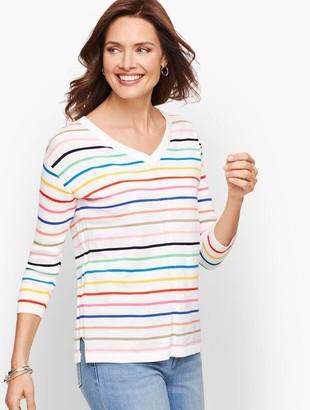 Talbots Cotton V-Neck Sweater - Stripe