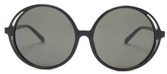 Linda Farrow Bianca Oversized Round Acetate Sunglasses - Black