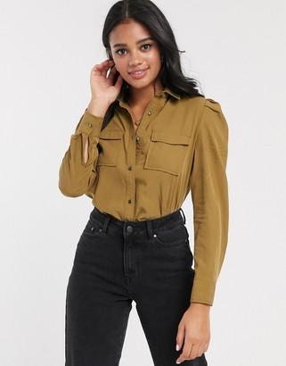 Pimkie puff shoulder utility shirt in khaki