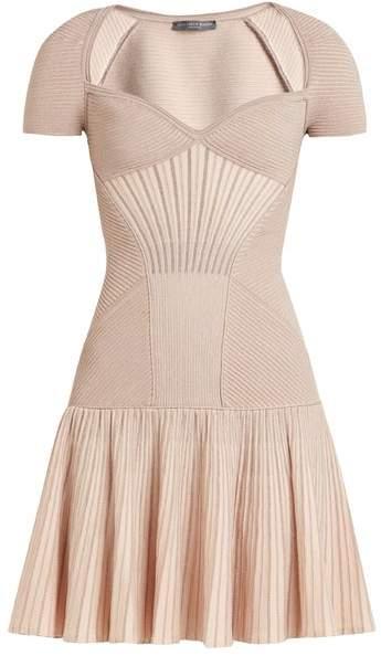 Alexander McQueen Sweetheart Neck Short Sleeved Wool Blend Dress - Womens - Pink