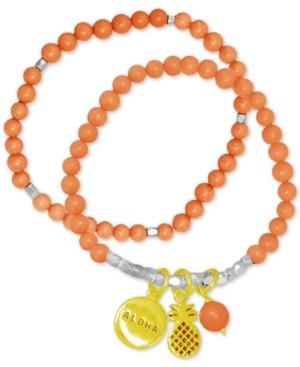 Kona Bay 2-Pc. Set Pineapple Charm & Beaded Stretch Bracelets