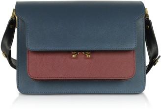 Marni Orion Blue Black & Ruby Saffiano Calf Leather Trunk Bag