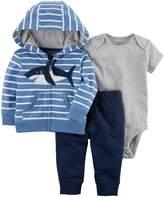 Carter's Baby Boy Shark Hooded Cardigan, Bodysuit & Pants Set