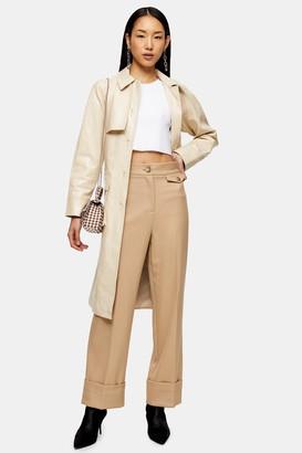 Topshop Womens Petite Sand Wide Leg Cuff Trousers - Sand