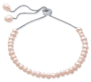 Macy's Blush Cultured Freshwater Pearl (4mm) Bolo Bracelet in Sterling Silver