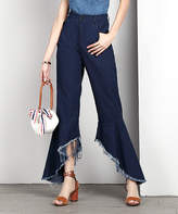 Reborn Collection Women's Denim Pants and Jeans Dark - Dark Indigo Chambray Frayed Flare Pants - Women & Plus