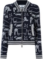Thom Browne animal print zip up cardigan