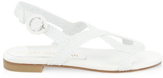 Stuart Weitzman Teodora Flat Woven Leather Slingback Sandals