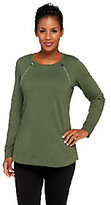 As Is Denim & Co. Active French Terry Tunic with Zipper Detail