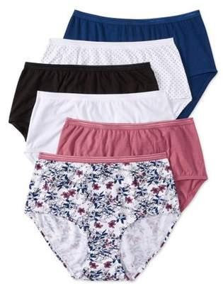 Secret Treasures Women's cotton stretch brief panty, 6 pack