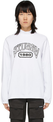 Stussy White Terry Mock Neck Tribute Sweatshirt