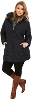 Jessica Simpson Plus Size Quilted Down with Faux Fur Trimmed Hood