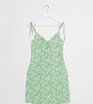 Noisy May Tall swing dress with tie cami straps in green spot print