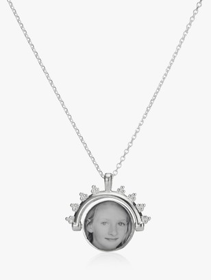 Under the Rose Personalised Photo Spinner Pendant Necklace, Silver
