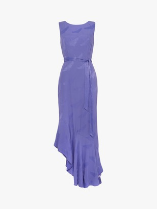 Phase Eight Isabella Herron Motif Asymmetric Ruffle Hem Midi Dress, Bluebell