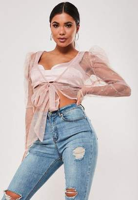Missguided Blush Mesh Glitter Puff Sleeve Crop Top