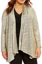Calvin Klein Plus Metallic Open Front Flyaway Jacket