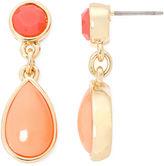 Liz Claiborne Gold-Tone Orange Double Drop Earrings